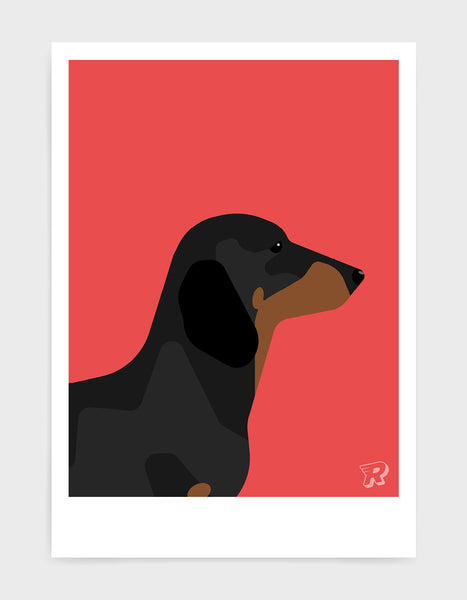 art print of a sausage dog in profile against a red background