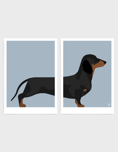 A pair of prints left side features the rear end of a daschund dog and the right side features the body and head against a light grey background