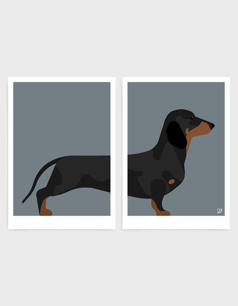 A pair of prints left side features the rear end of a daschund dog and the right side features the body and head against a dark grey background