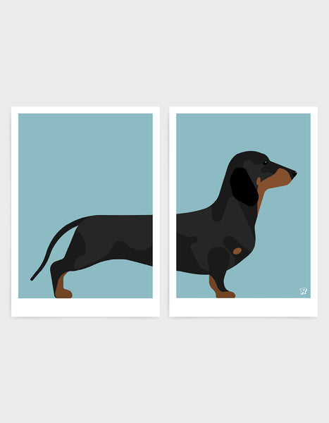 A pair of prints left side features the rear end of a daschund dog and the right side features the body and head against a light blue background