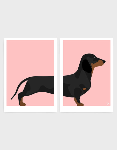 A pair of prints left side features the rear end of a daschund dog and the right side features the body and head against a pink background