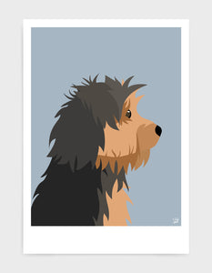 Profile illustration of a yorkshire terrier head in profile against a light grey background