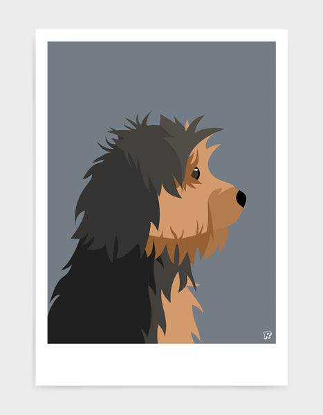 Profile illustration of a yorkshire terrier head in profile against a dark grey background
