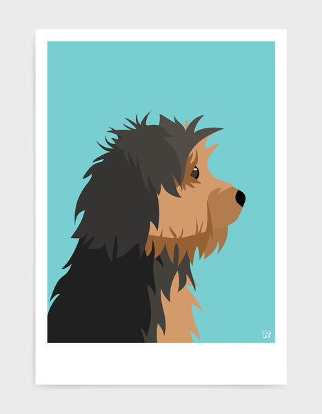Profile illustration of a yorkshire terrier head in profile against a blue aqua background