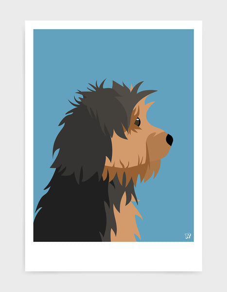 Profile illustration of a yorkshire terrier head in profile against a sky blue background