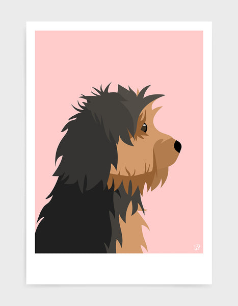 Profile illustration of a yorkshire terrier head in profile against a pink background