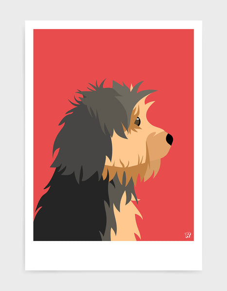 Profile illustration of a yorkshire terrier head in profile against a red background