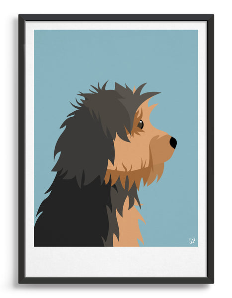 Profile illustration of a yorkshire terrier head in profile against a light blue background
