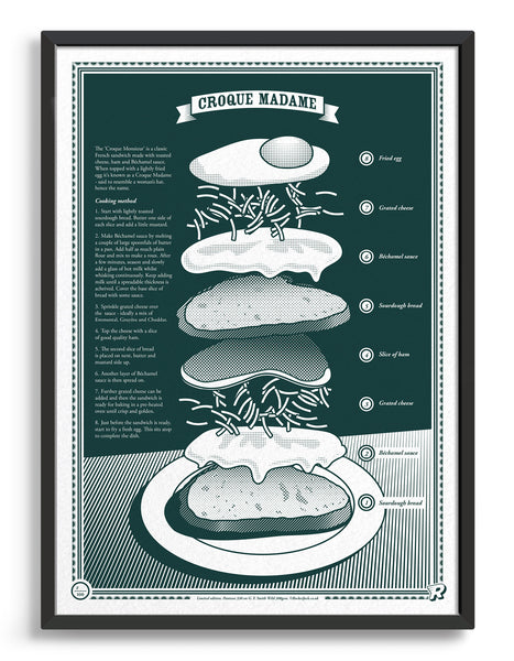 limited edition Infographic art print depicting an exploded diagram of the croque madame in monotone dark green ink
