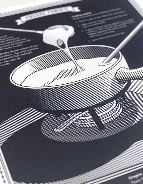 limited edition Infographic art print depicting a close up diagram of the swiss fondue in monotone dark grey ink