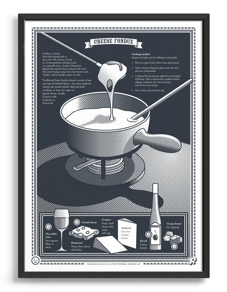 limited edition Infographic art print depicting a diagram of the swiss fondue in monotone dark grey ink