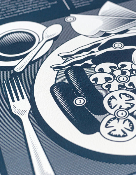 close up limited edition Infographic art print depicting a diagram of the full english breakfast in monotone blue ink