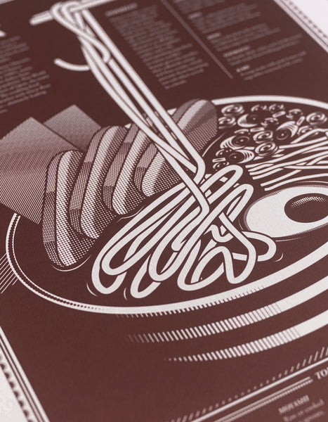 close up of limited edition Infographic art print depicting a diagram of the japanese ramen in monotone dark red ink