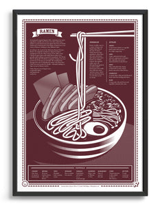 limited edition Infographic art print depicting a diagram of the japanese ramen in monotone dark red ink