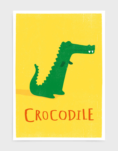 kids cute crocodile illustration art print on a yellow background with option to personalise