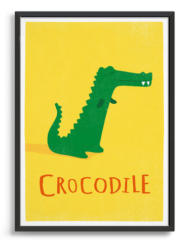 kids cute crocodile illustration art print on a yellow background