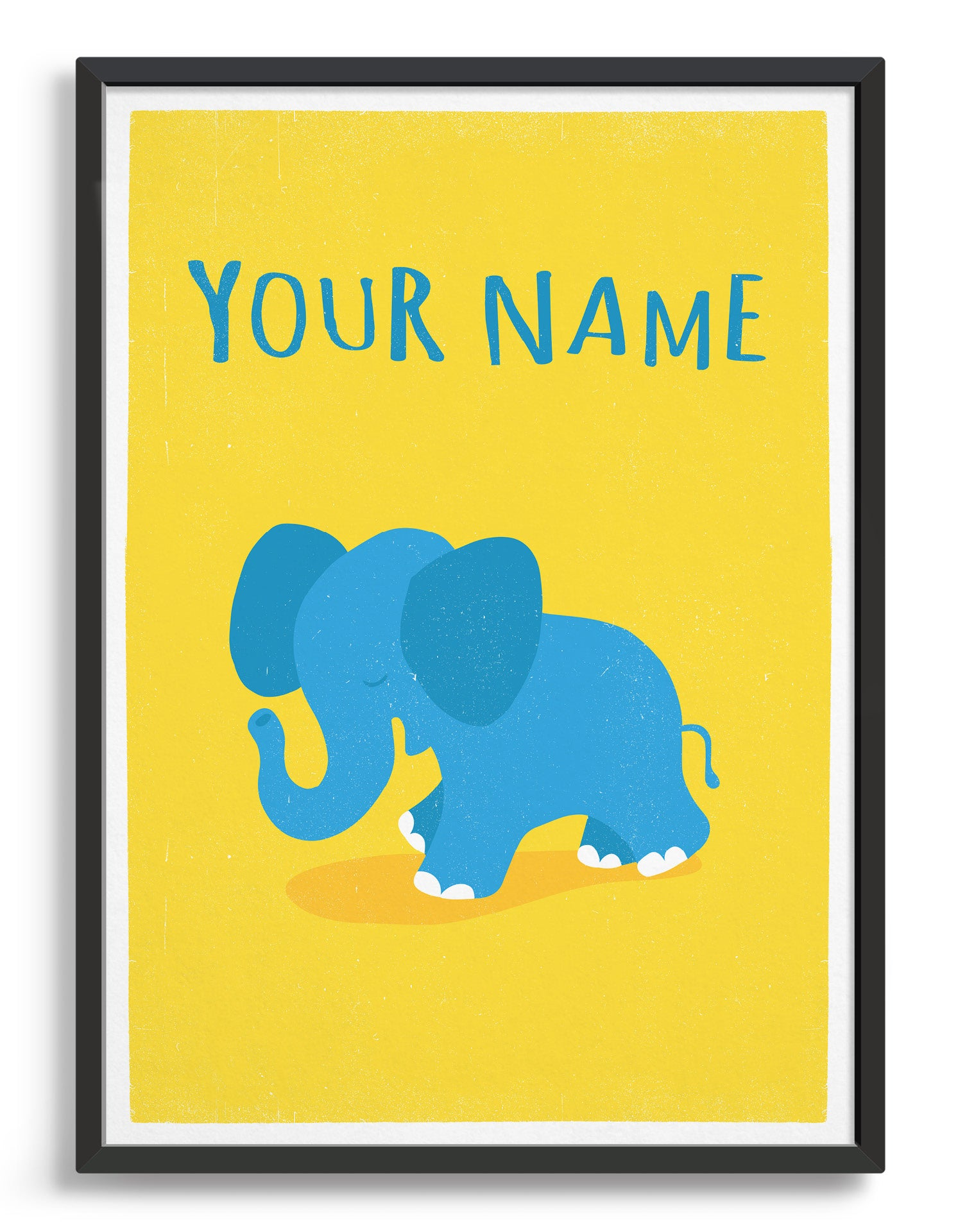 kids cute blue elephant illustrated art print on yellow background