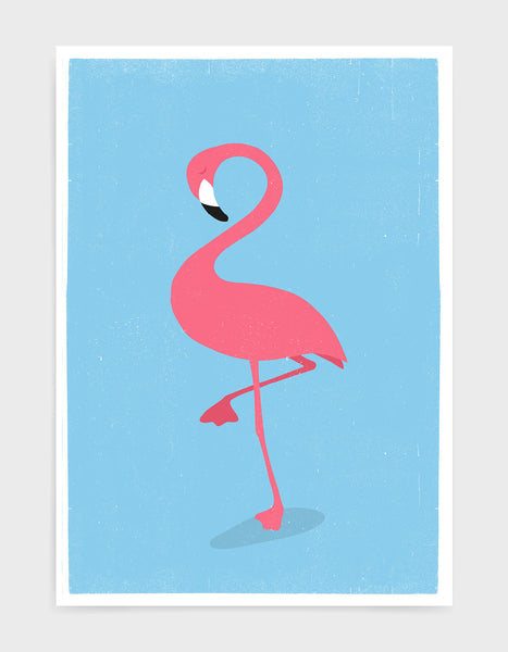 kids illustrated pink flamingo print on light blue background