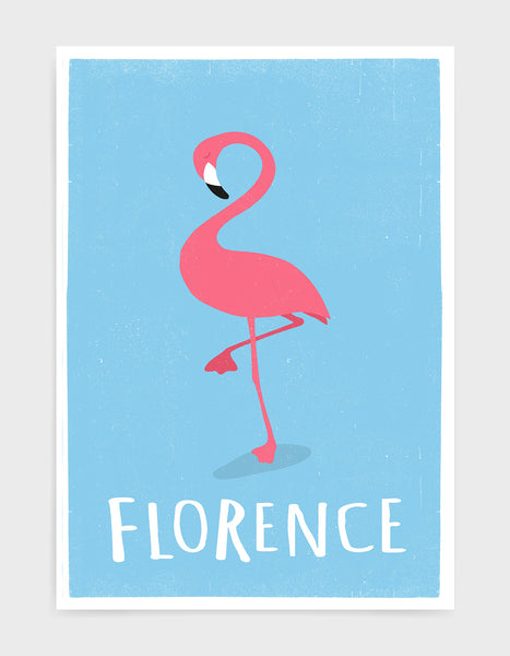 kids pink flamingo print on light blue background with option to add custom name