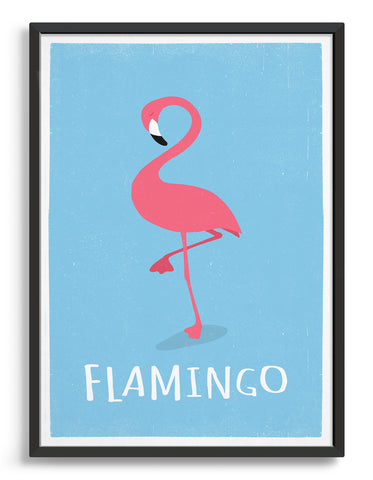 kids pink flamingo print on a light blue background with flamingo underneath