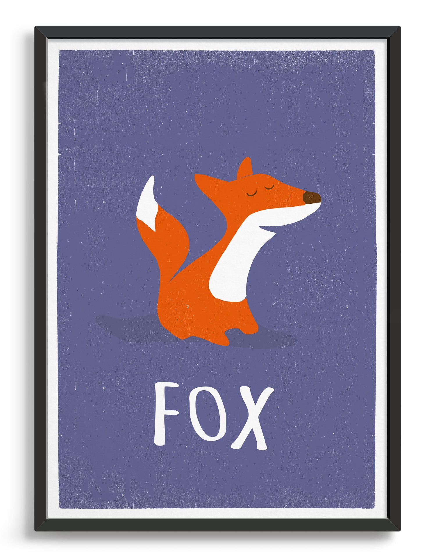 kids cute fox print on purple background with Fox underneath