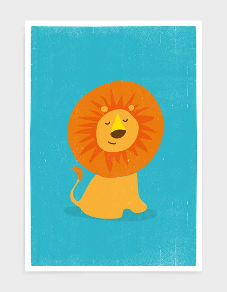 art print of a cute lion on a bright blue background