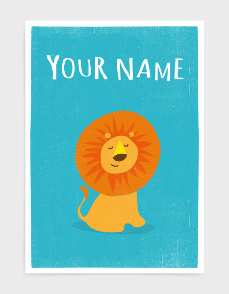framed art print of a cute lion on a bright blue background with the words 'your name' above as the item is personalisable