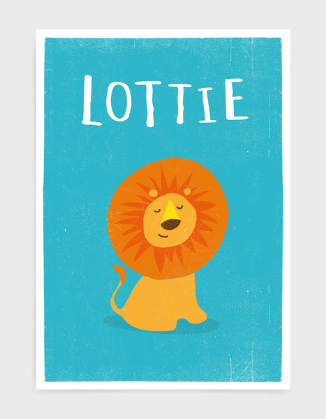 kids cute lion print on a bright blue background with child name personalised above