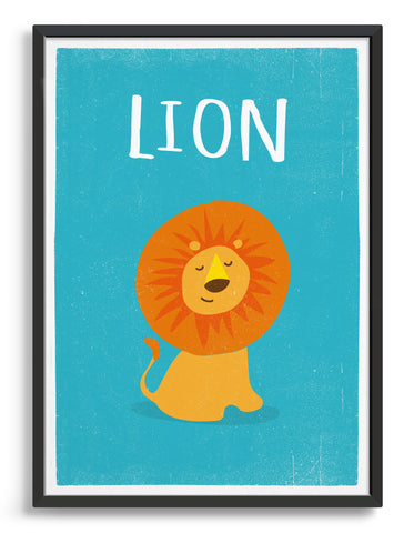 framed art print of a cute lion on a bright blue background with the word lion above