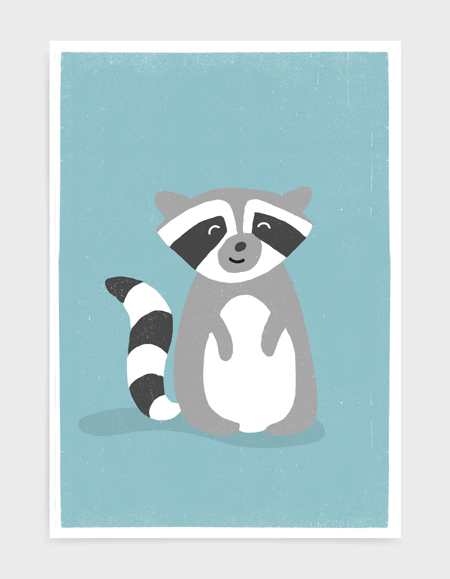 art print of a cute racoon on a light blue background