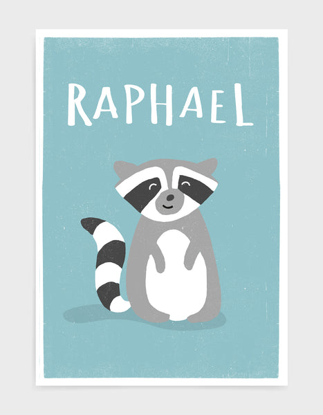 art print of a cute racoon on a light blue background with personalised name above