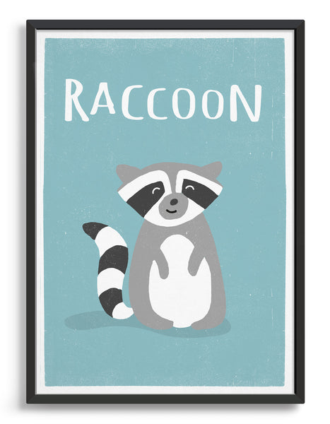 framed art print of a cute racoon on a light blue background with the word racoon above