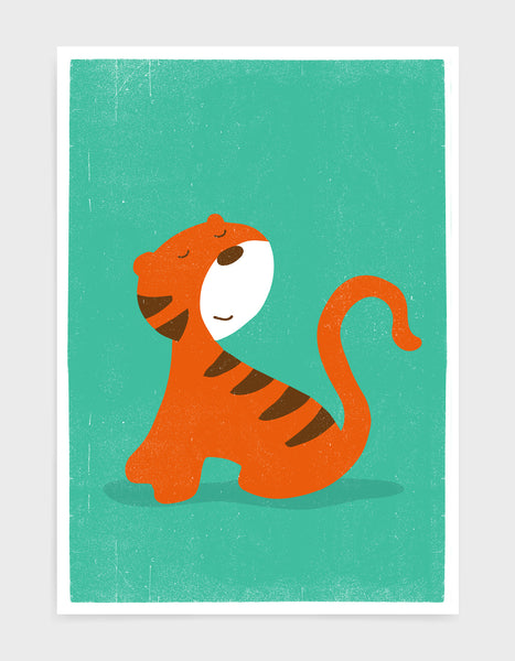 kids cute tiger print on green background
