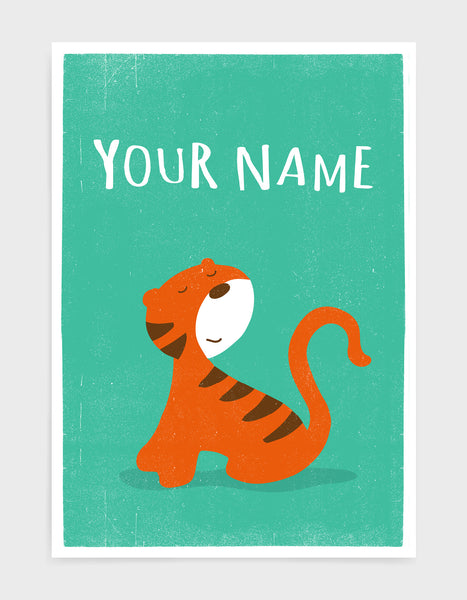 kids cute tiger print on green background with option to personalise