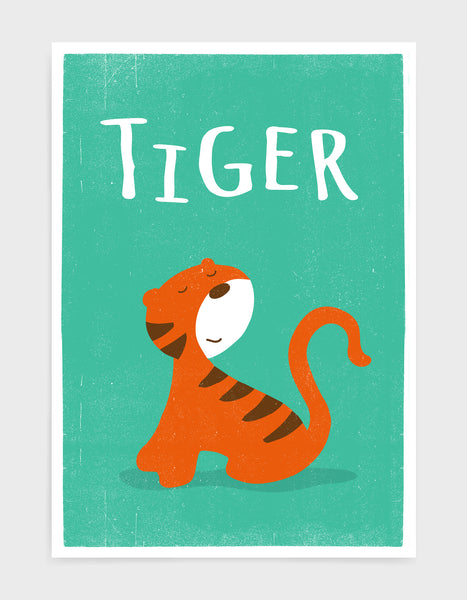 kids cute tiger print on green background with words Tiger above