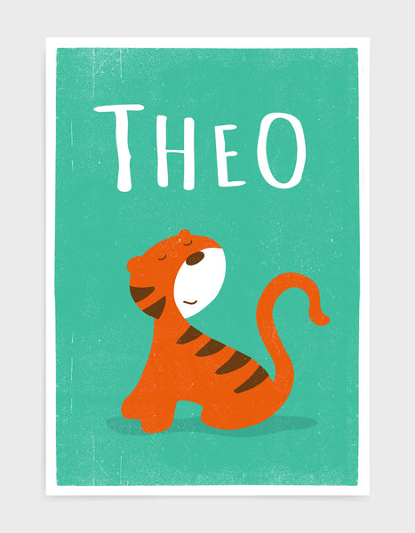 Kids cute tiger print on green background with personalised name