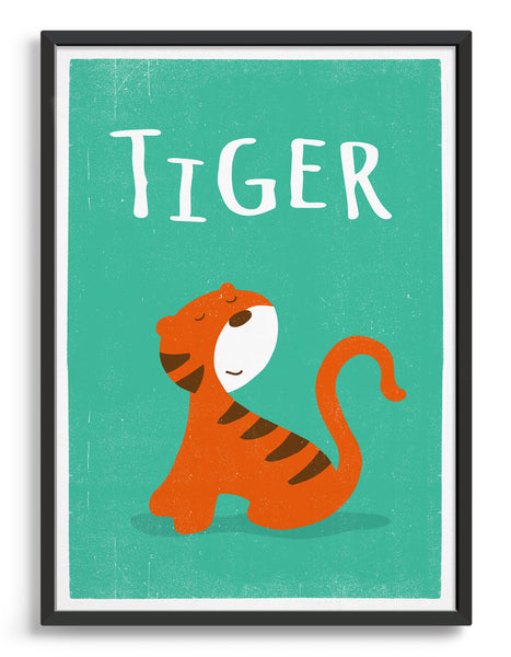 Framed image of kids cute tiger print on green background with words Tiger above
