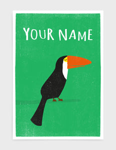 art print of a toucan bird in profile against a green background