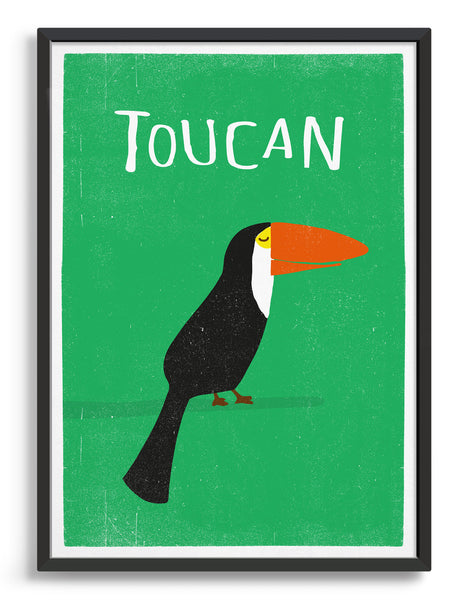 Framed art print of a toucan bird in profile against a green background