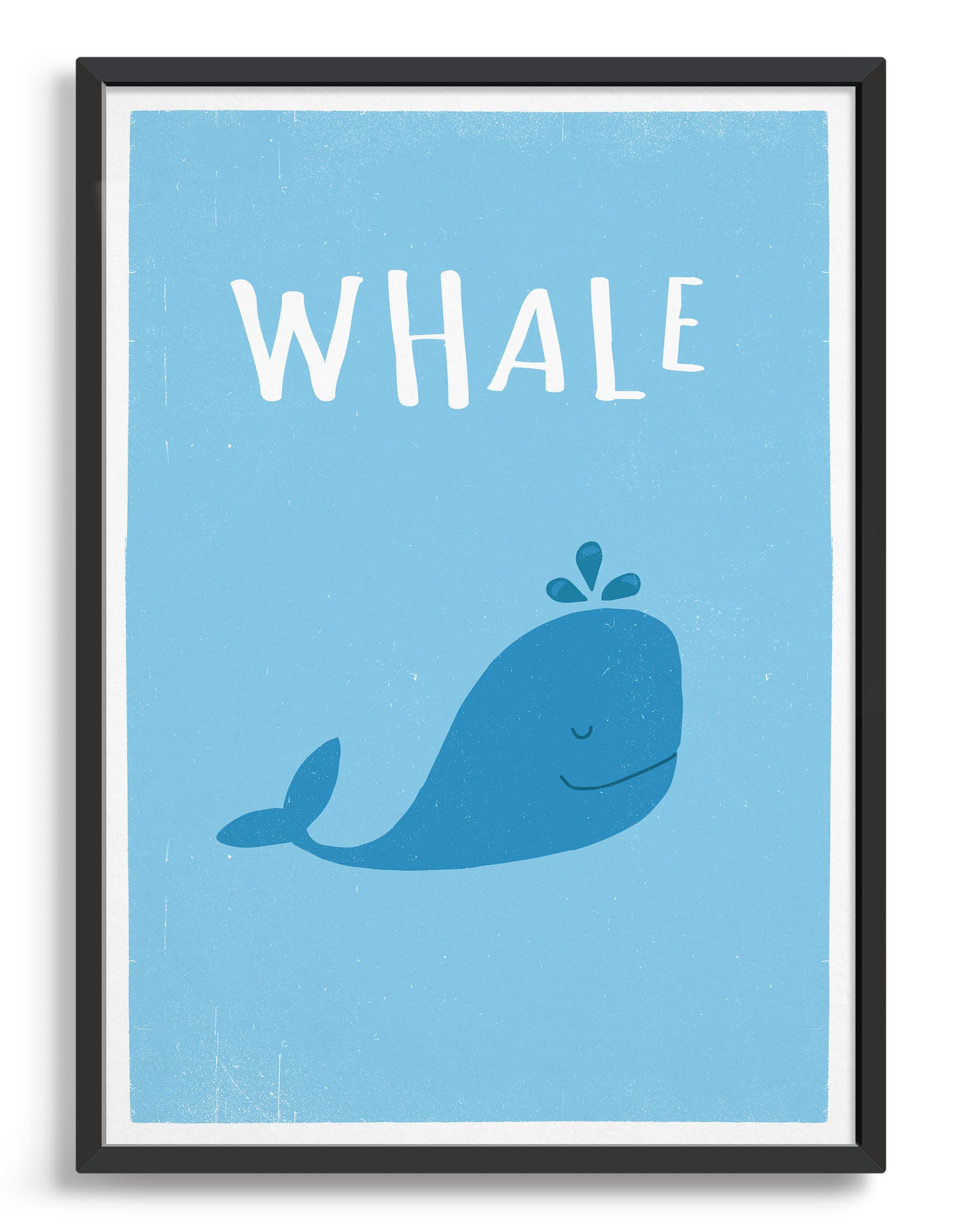 kids cute blue whale illustrated art print with light blue background and whale text