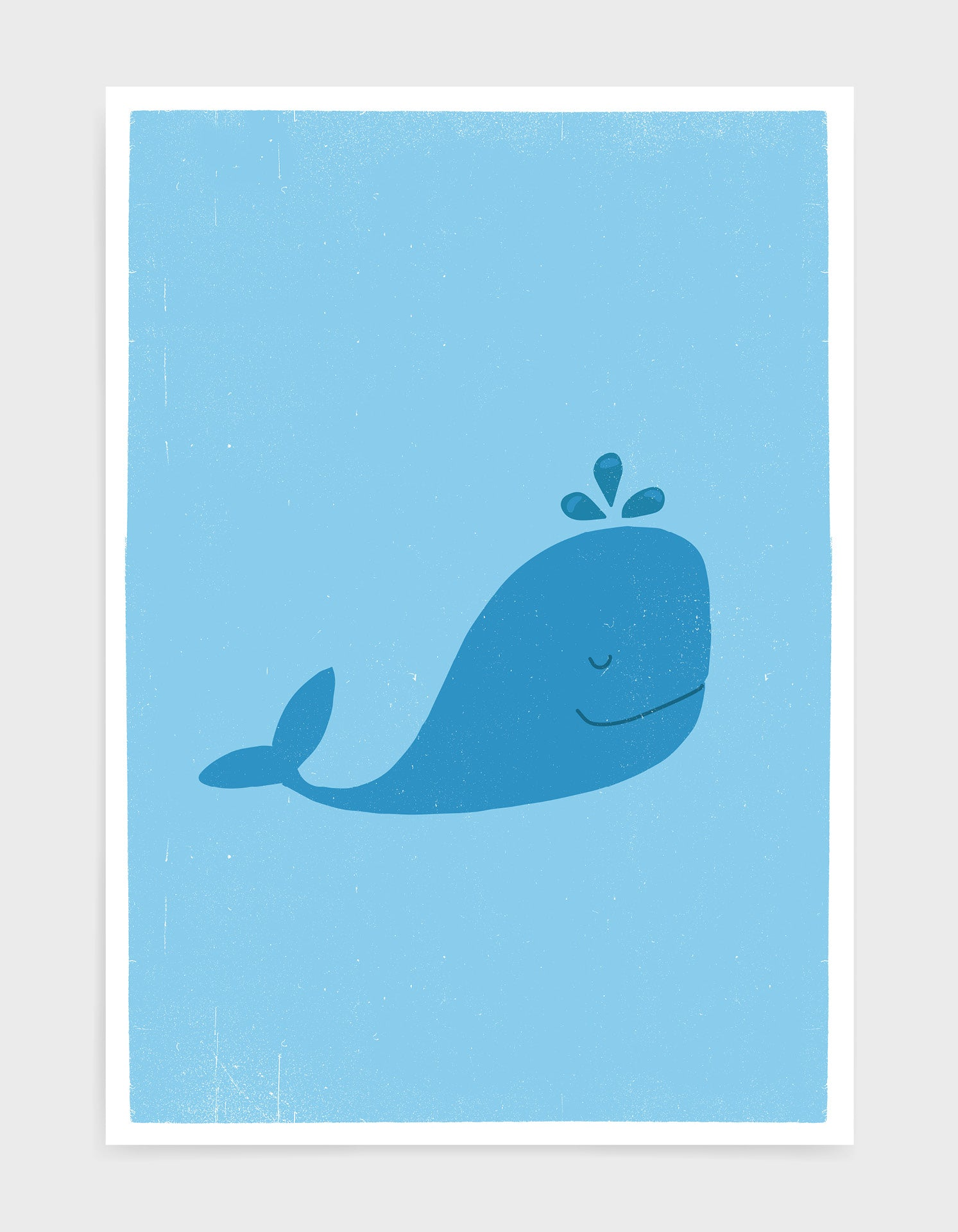 kids cute blue whale illustrated art print with light blue background