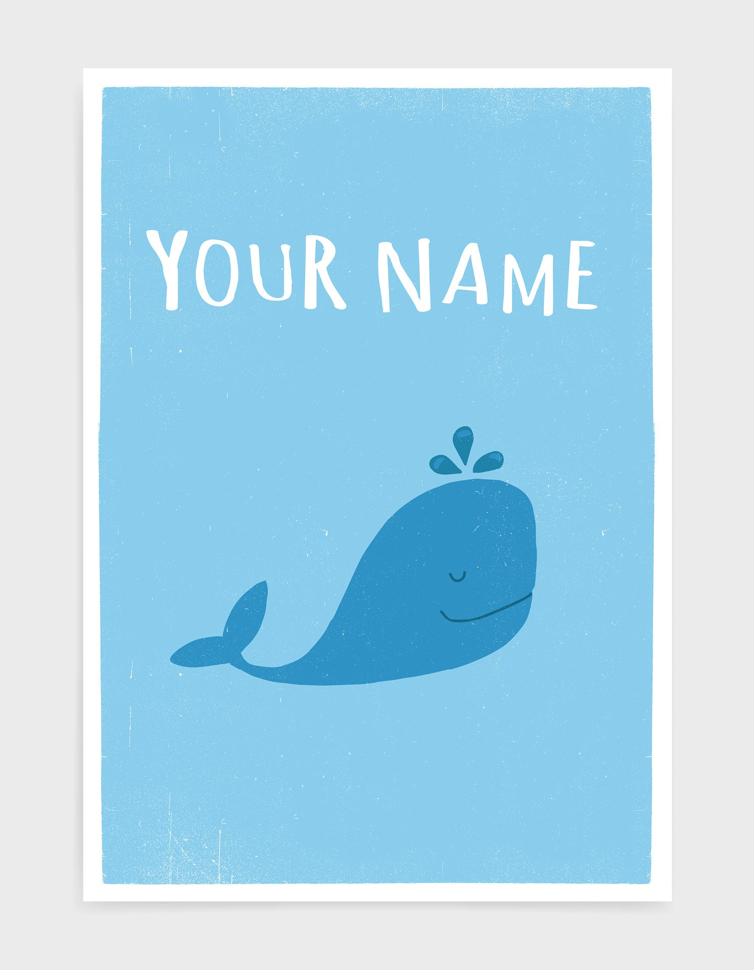 kids cute blue whale illustrated art print with light blue background and custom text