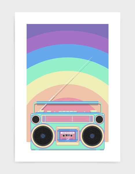 Retro boombox on a rainbow background with personalised cassette title