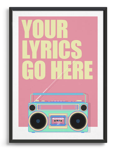 Retro vintage boom box print with personalised song title or lyrics on a pink background