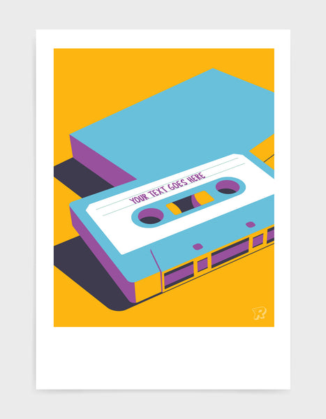 customisable retro mixtape poster of cassette tape in blue against a yellow background