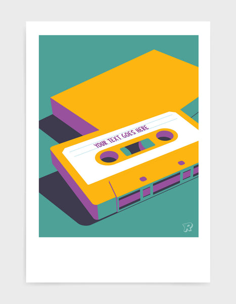 customisable retro mixtape poster with cassette tape in yellow against a green background