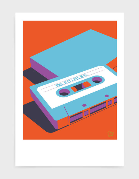 customisable retro mixtape poster of cassette tape in blue against red background