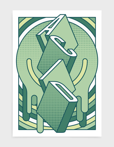 music art print featuring a geometric abstract pattern in green tones. Block typography depicts the word Acid in tumbling text
