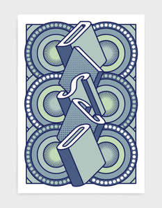 disco music art print featuring a geometric abstract pattern in bold shapes and blue colours. Block typography depicts the word disco in tumbling text
