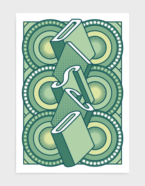 disco music art print featuring a geometric abstract pattern in bold shapes and green colours. Block typography depicts the word disco in tumbling text
